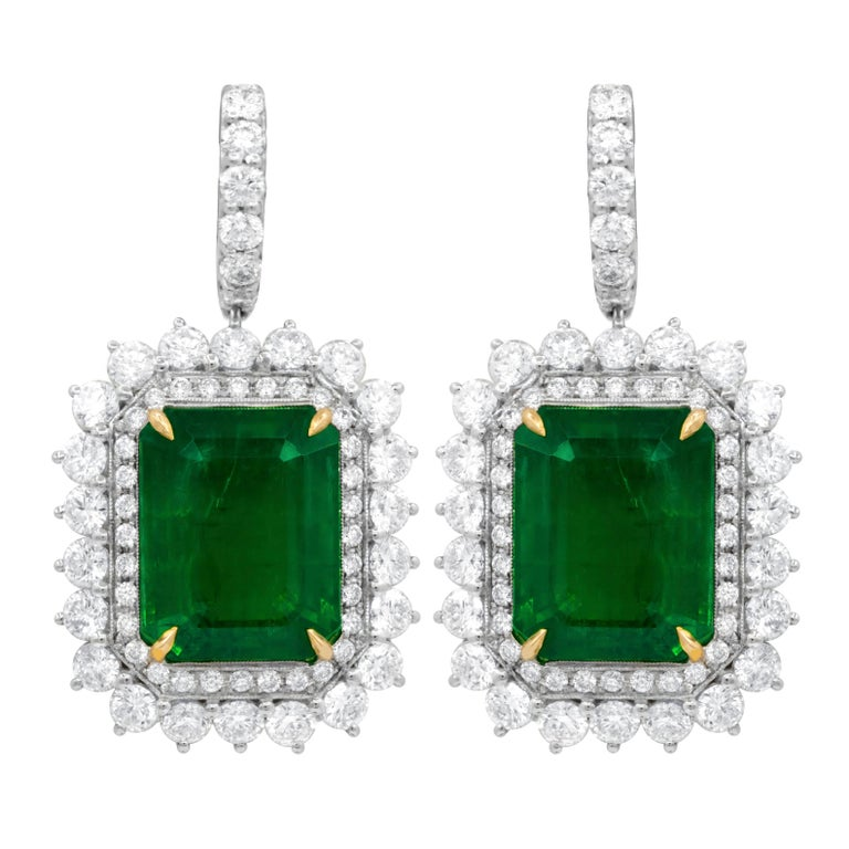 Gia Certified 20 37 Carat Green Emerald Earrings For