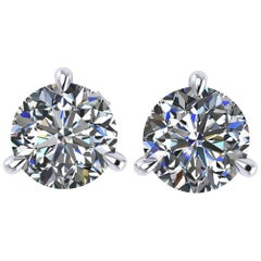 GIA Certified 2.04 Carat D Color Internally Flawless Platinum Martini Studs