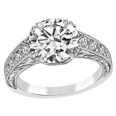 GIA Certified 2.04 Carat Diamond Edwardian Engagement Ring