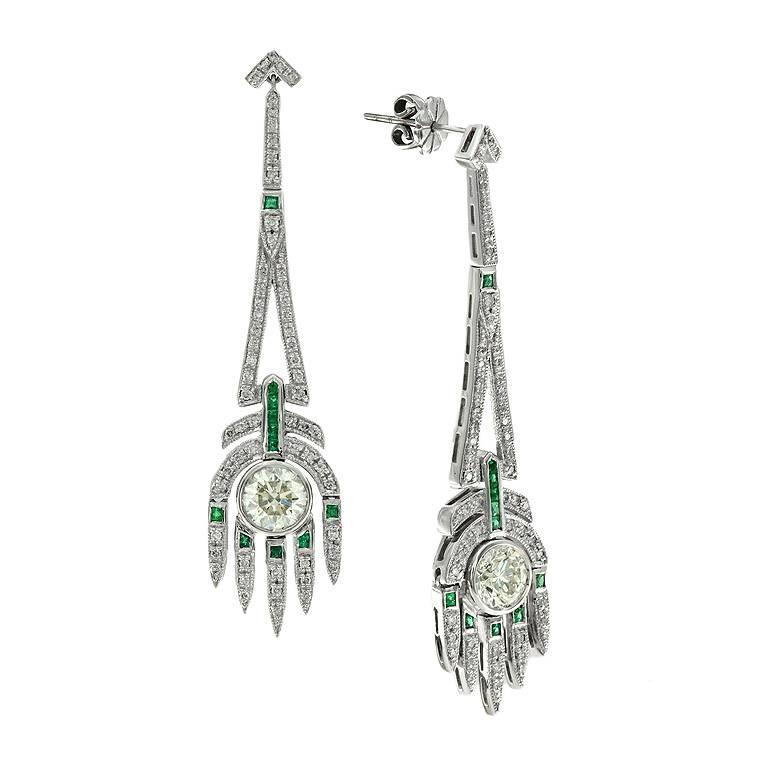 GIA Certified 2.04 Carat Diamond Emerald Chandelier Style Earrings