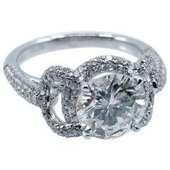 """GIA Certified 2.04 Carat Diamond Ring in Pavé """"Stirrup"""" Setting of 18 Karat Gold"""