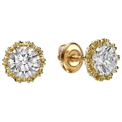 GIA Certified 2.04 Carat Diamond Stud Earrings with 18K Yellow Gold