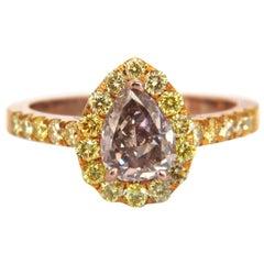 GIA Certified 2.04 Carat Fancy Pink Diamond Ring 18 Karat
