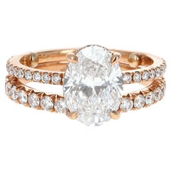 GIA Certified, 2.04 Carat Oval Diamond Engagement Ring with Matching Band