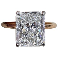 GIA Certified 1.91 Carat Radiant Cut Diamond E Color Ideal Cut 18 Karat Ring