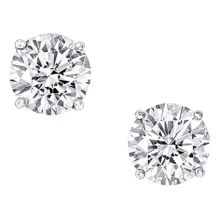 GIA Certified 2.04 Carat Round Cut Diamond Stud Earrings