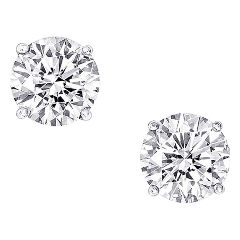 GIA Certified 2.04 Carat Round Cut Diamond Stud Earrings For Sale