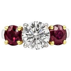 GIA Certified 2.04 Carat Round Diamond and Ruby Three-Stone Engagement Ring