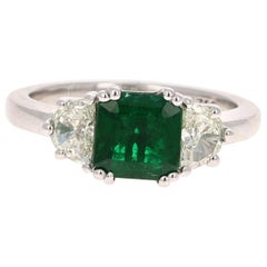 GIA Certified 2.04 Emerald and Diamond 18 Karat White Gold 3-Stone Ring