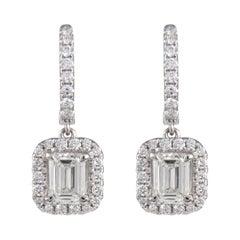 GIA Certified 2.04ct Emerald Cut Diamond Drop Earrings with Halo 18k White Gold