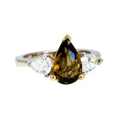 GIA Certified 2.04ct Natural No Heat Yellow Brown Sapphire Diamonds Ring 14kt