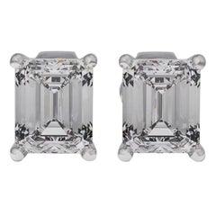 GIA Certified 2.05 Carat Emerald Cut Diamond Stud Earrings 14 Karat White Gold