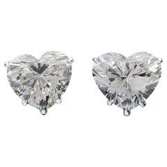 GIA Certified 2.05 Carat Heart Cut Diamond White Gold Studs Earrings