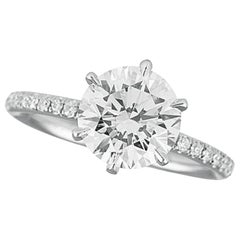 GIA Certified 2 Carat Pave Ring Excellent Cut Platinum Pave Ring