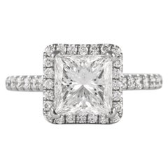 GIA Certified H VS1 2.05 Carat Princess Cut Diamond Ring 18 Karat White Gold