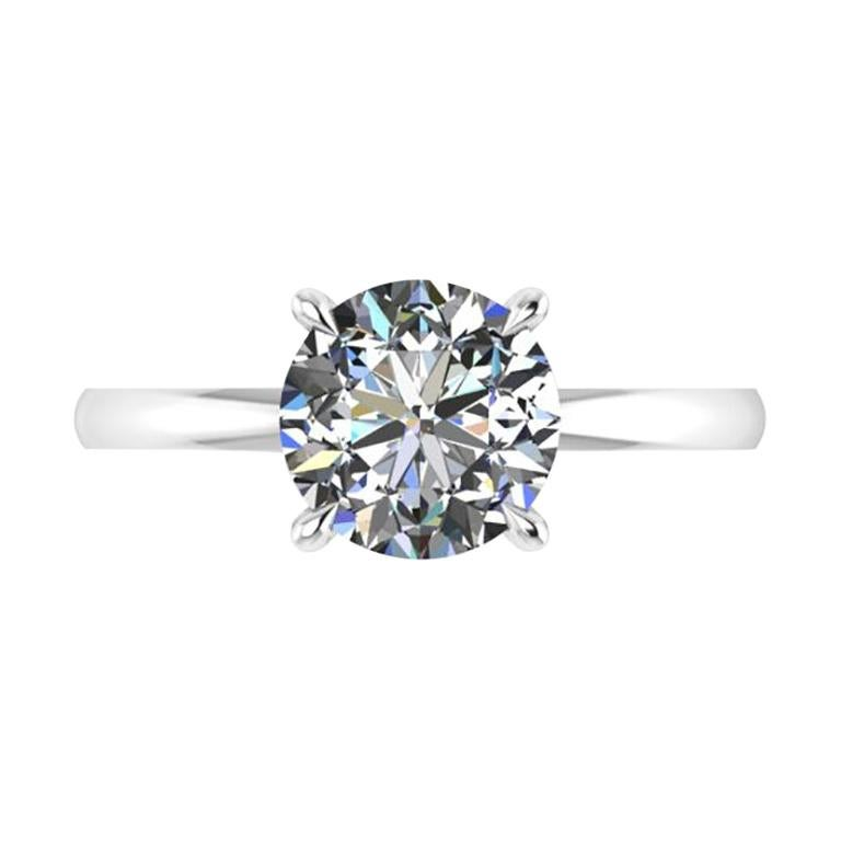 GIA Certified 2.05 Carat White Diamond in Platinum 950 Solitaire Engagement Ring