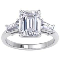 GIA Certified 2.05 Emerald Cut Diamond Engagement Ring