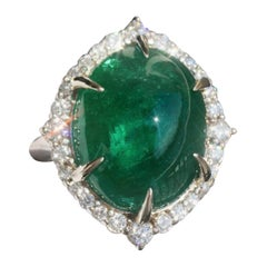 GIA Certified Massive 20 Carat Natural Emerald and Diamond Cocktail Ring