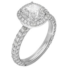 GIA Certified 2.06 Carat Antique Cushion Diamond Engagement Ring
