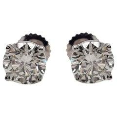 GIA Certified 2.06 Carat Diamond Stud Earrings