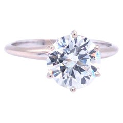 GIA Certified 2.06 Carat Round Brilliant Cut VVS Diamond 18k Gold Solitaire Ring