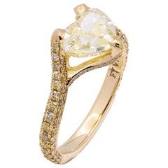 GIA Certified 2.06 Carat Fancy Yellow Heart Shape Diamond Ring in 18 Karat Gold