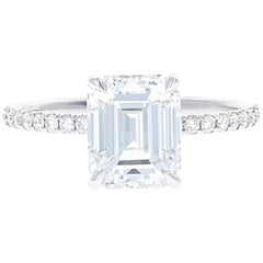 GIA Certified 2.07 Carat Emerald Cut Diamond Engagement Ring