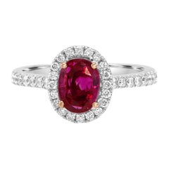 GIA Certified 2.07 Carat No Heat Burma Purple Sapphire Two Color Gold Halo Ring