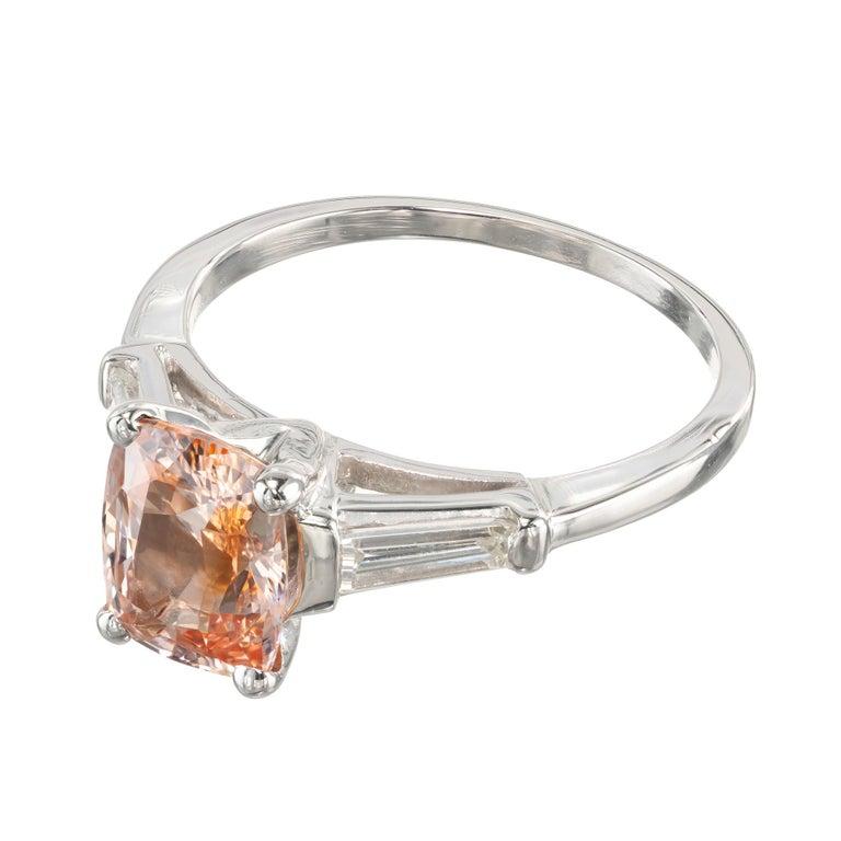 Cushion Cut GIA Certified 2.07 Carat Sapphire Diamond Platinum Three-Stone Engagement Ring For Sale