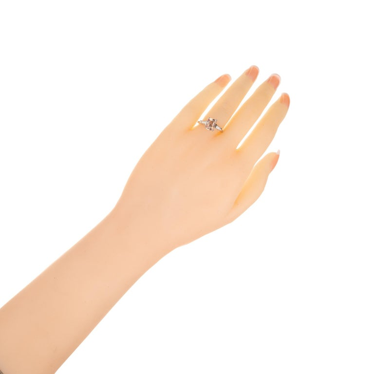 GIA Certified 2.07 Carat Sapphire Diamond Platinum Three-Stone Engagement Ring For Sale 1