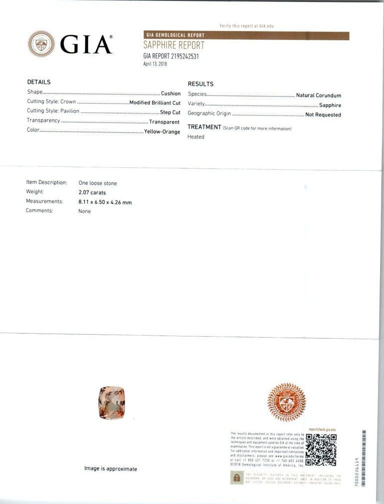 GIA Certified 2.07 Carat Sapphire Diamond Platinum Three-Stone Engagement Ring For Sale 2