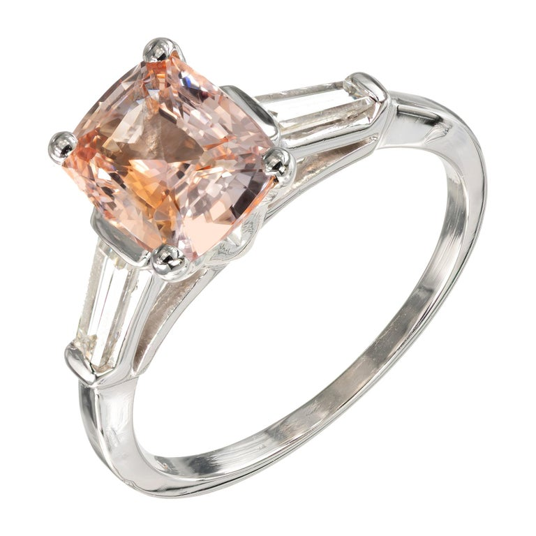 GIA Certified 2.07 Carat Sapphire Diamond Platinum Three-Stone Engagement Ring For Sale