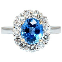 GIA Certified 2.07 Carat Natural No Heat Sapphire Diamond Ring Unheated 18 Karat