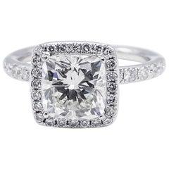 GIA Certified 2.08 Carat Cushion Diamond Halo Platinum Engagement Ring