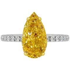 GIA Certified 2.08 Carat Pear Shape Orange Diamond Ring