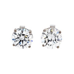 GIA Certified 2.09 & 2.16 Carat D Color Round Diamond Earrings