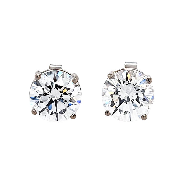 GIA Certified 2.09 & 2.16 Carat D Color Round Diamond Earrings For Sale