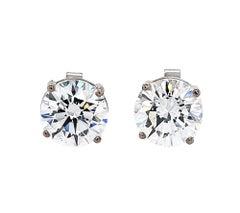 GIA Certified 2.09 & 2.16 Carat Round Diamond Stud Earrings