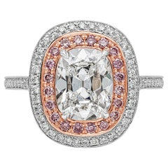 GIA Certified 2.09 Carat Cushion Cut Diamond Double Halo Engagement Ring