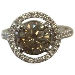 GIA Certified 2.09 Carat Natural Fancy Yellow Round Diamond Ring 18 Karat Gold