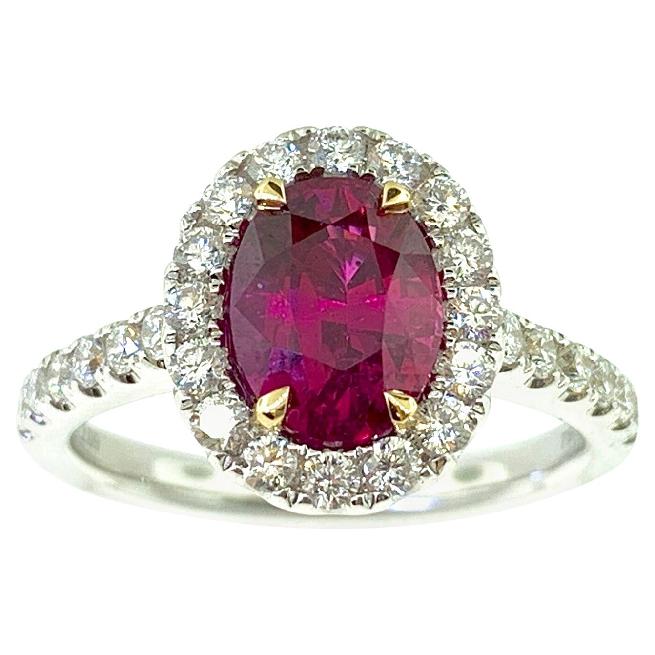 GIA Certified 2.09 Carat Oval Ruby and Diamond Cocktail Ring