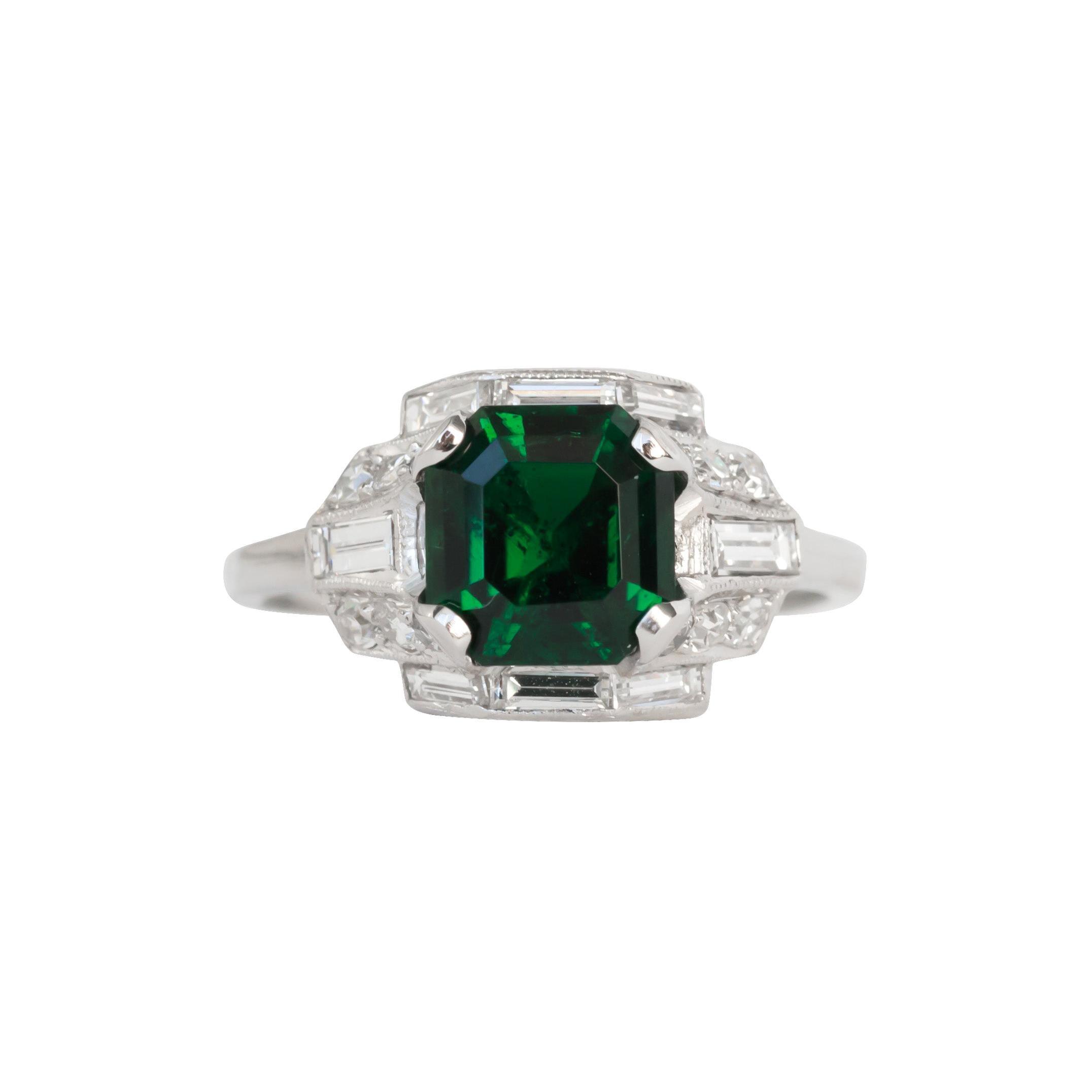 GIA Certified 2.10 Carat Emerald Platinum Engagement Ring, VEG#856A