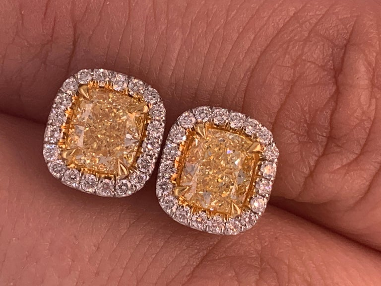 GIA Certified 2.10 Carat Fancy Yellow Diamond Stud Earrings For Sale 1