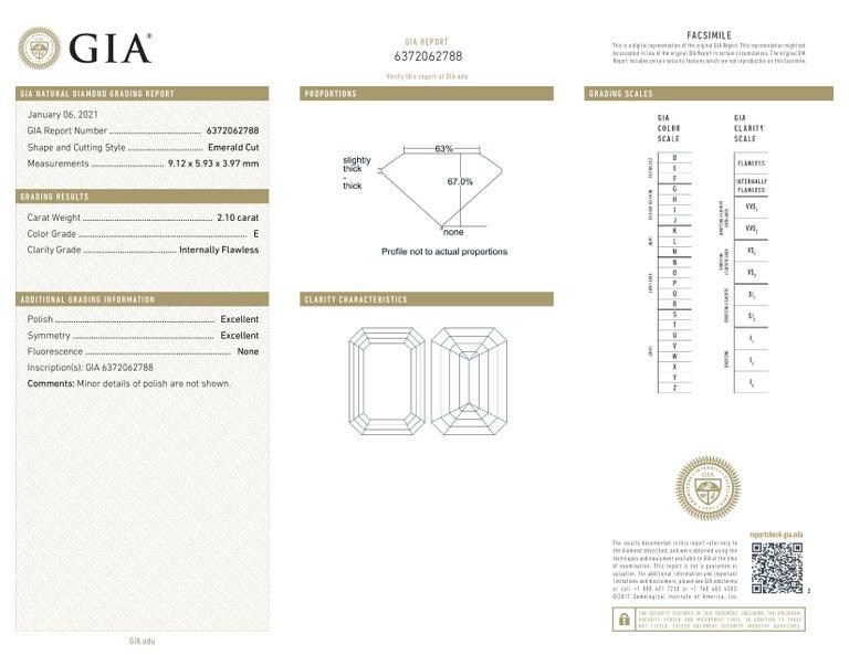 Emerald Cut GIA Certified 2.10 Carat Loose Diamond E Color Internally Flawless Clarity  For Sale