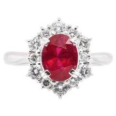 GIA Certified 2.10 Carat Natural Burmese Ruby and Diamond Ring Set in Platinum