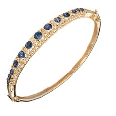 GIA Certified 2.10 Carat Oval Sapphire Diamond Gold Bangle Bracelet