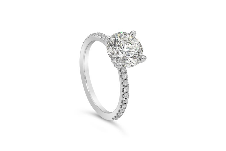 Contemporary GIA Certified 2.10 Carat Round Diamond Pave Engagement Ring For Sale