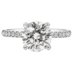 GIA Certified 2.10 Carat Round Diamond Pave Engagement Ring