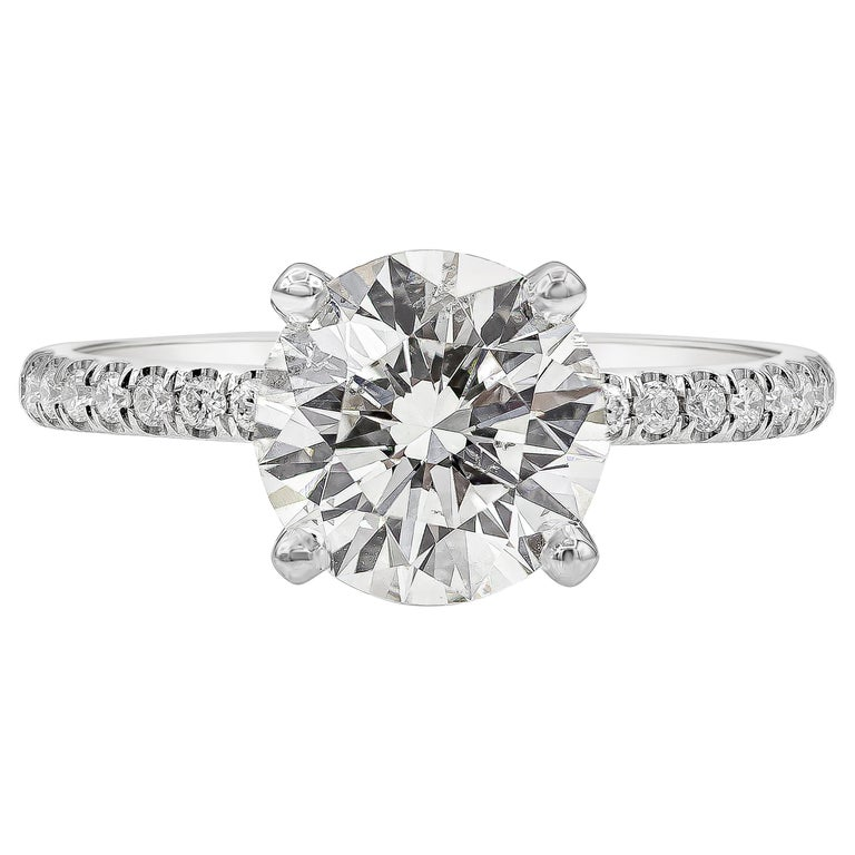 GIA Certified 2.10 Carat Round Diamond Pave Engagement Ring For Sale