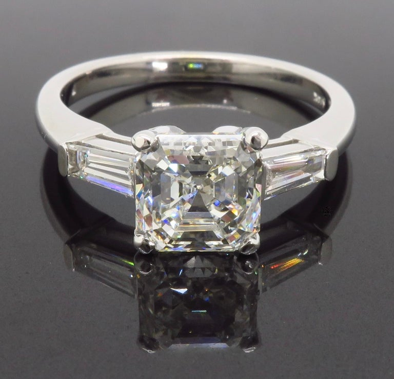GIA Certified 2.10 Carat Square Emerald / Asscher Cut Diamond Engagement Ring For Sale 5
